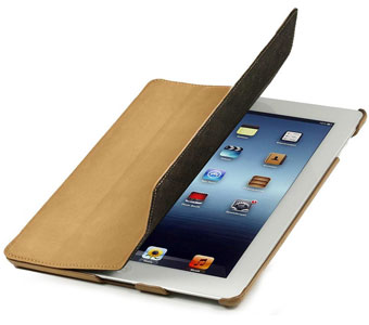 iPad 4 Hülle von StilGut in Khaki- Typ Couverture Case
