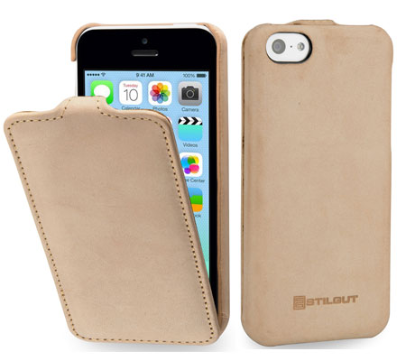 iPhone 5c Hülle aus Leder von StilGut - Typ UltraSlim Case in Beige