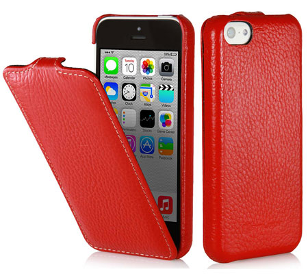 iPhone 5c Hülle aus Leder von StilGut - Typ UltraSlim Case in Rot