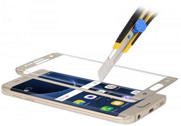 StilGut - Panzerglas 3D curved Samsung Galaxy S7 edge mit goldenem Rand