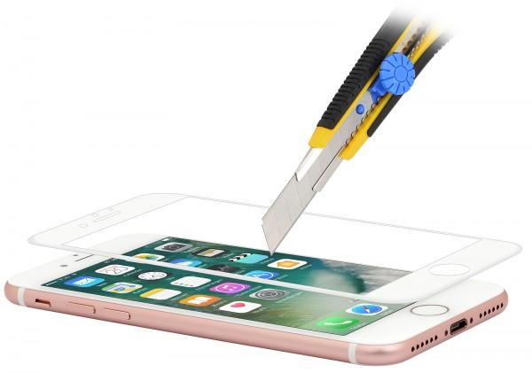 StilGut - Panzerglas 3D curved iPhone 8 mit weißem Rand