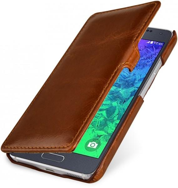 """StilGut - Handyhülle für Samsung Galaxy Alpha """"Book Type"""" mit Clip"""