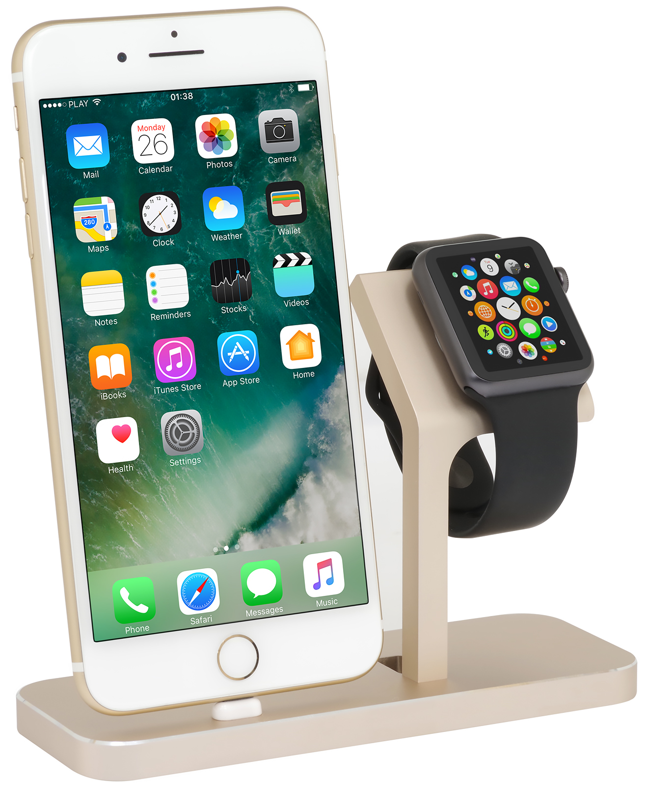 apple watch iphone dockingstation twindock gold 01