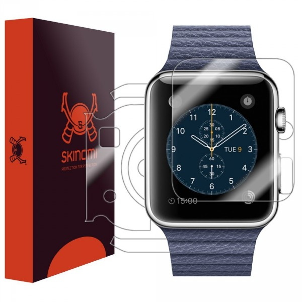 Skinomi - Displayschutzfolie für Apple Watch 42 mm TechSkin für Vorder- und Rückseite