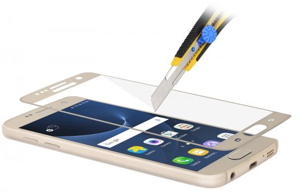 StilGut - Panzerglas 3D curved Samsung Galaxy S7 mit goldenem Rand