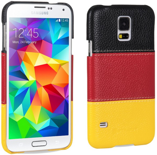 "StilGut - Cover aus Leder ""Deutschland-Edition"" Samsung Galaxy S5"
