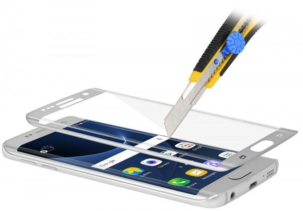 StilGut - Panzerglas 3D curved Samsung Galaxy S7 edge mit silbernem Rand