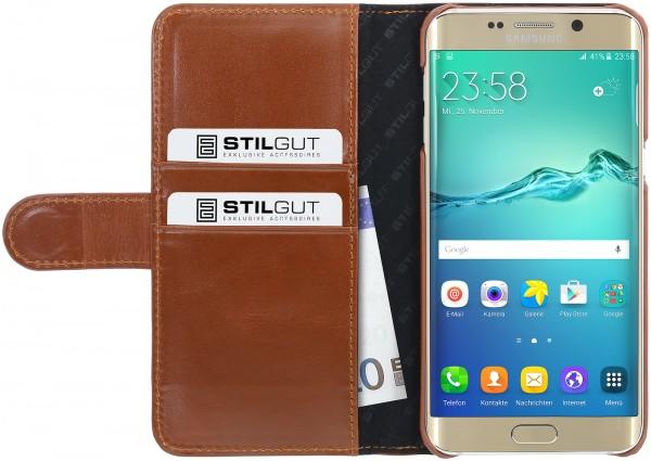 StilGut - Samsung Galaxy S6 edge+ Hülle Talis mit Kreditkartenfach aus Leder