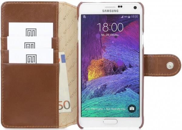 """StilGut - Handyhülle für Samsung Galaxy Note 4 """"Talis"""" aus Leder"""