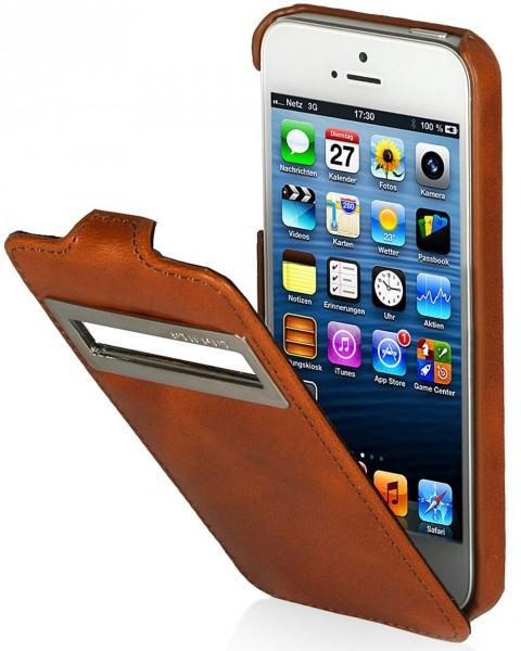 StilGut - Ledertasche mit Sichtfenster (iOS 6) für iPhone 5 & iPhone 5s