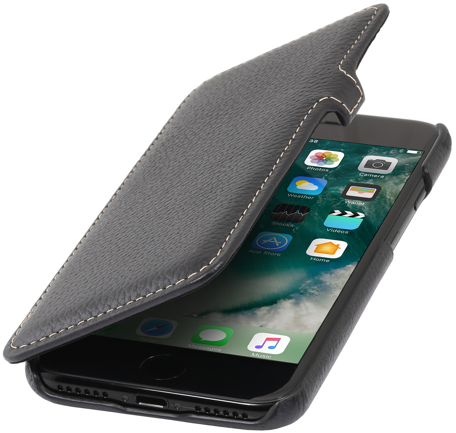 iphone 7 plus tasche book type mit clip stilgut. Black Bedroom Furniture Sets. Home Design Ideas