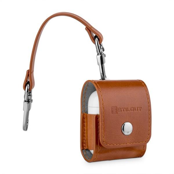 StilGut - AirPods Case aus Leder mit Lederband & Karabiner
