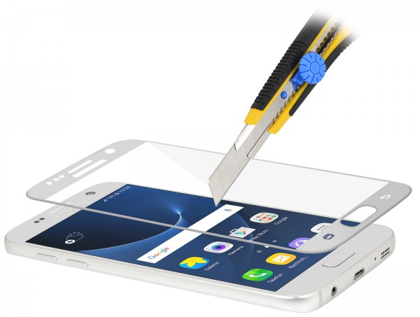 StilGut - Panzerglas 3D curved Samsung Galaxy S7 mit silbernem Rand