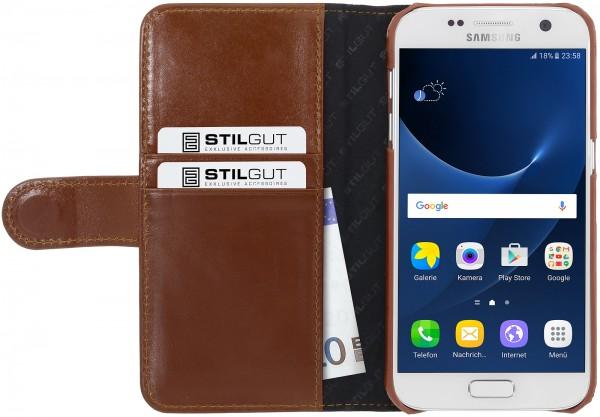 StilGut - Samsung Galaxy S7 Hülle Talis mit Kreditkartenfach aus Leder
