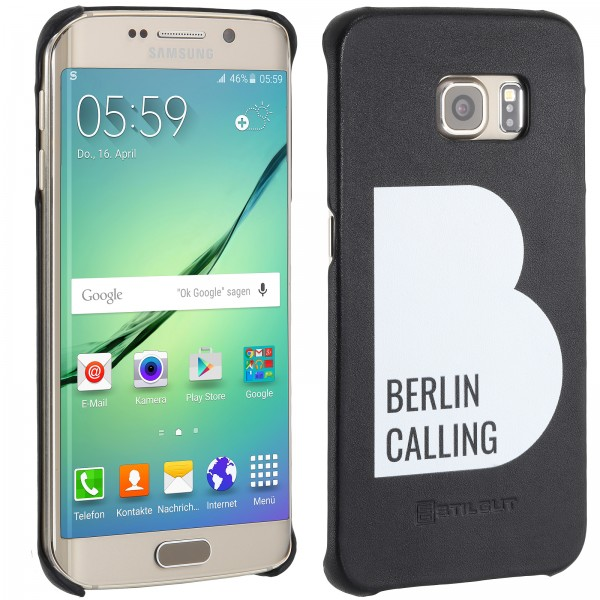 StilGut - Samsung Galaxy S6 edge Cover Berlin Calling aus Leder - Like Berlin Edition