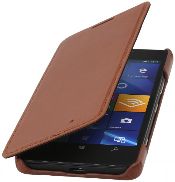 StilGut - Lumia 950 Case Book Type aus Leder ohne Clip