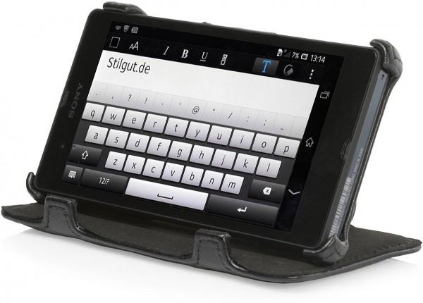 StilGut - Tasche mit Standfunktion für Sony Xperia Z