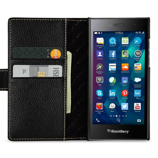 StilGut - BlackBerry Leap Hülle Talis mit Kreditkartenfach aus Leder